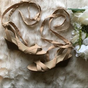 Kenneth Cole Reaction // Nude Wrap Tie Wedge Heels
